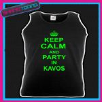 KEEP CALM AND PARTY IN KAVOS HOLIDAY CLUBBING UNISEX VEST TOP